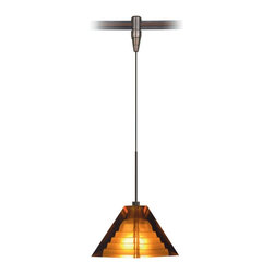 "Tech Lighting - Pyramid Amber Glass Bronze Tech Lighting MonoRail Pendant - The Pyramid pendant features the classic shade enhanced with a subtle step pattern inside. The shade is crafted with amber pressed glass. This fixture includes a connector to the low-voltage Tech Lighting MonoRail system. With its hand-bendable rail the MonoRail system has the flexibility to light even the most difficult spaces. Bronze finish. Amber pressed glass. Connects to Tech Lighting monorail system. Includes six feet of field-cuttable suspension cable. Includes one 35 watt halogen bi-pin bulb. Glass is 3 1/2"" wide 3"" high. See below for complete MonoRail system.  Bronze finish.  Amber pressed glass.  Connects to Tech Lighting monorail system.  Includes six feet of field-cuttable suspension cable.  Includes one 35 watt halogen bi-pin bulb.  Glass is 3 1/2"" wide 3"" high.  See below for complete MonoRail system."