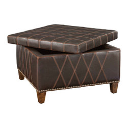 Uttermost - Uttermost Wattley Storage Ottoman in Brown Faux Leather - Storage Ottoman in Brown Faux Leather belongs to Wattley Collection by Uttermost Rugged sable brown covering with double stitched gridwork is of washable and breathable faux leather. Lift off top features welted seams, and offers invaluable storage space. Wooden legs are finished in weathered hickory and accented with nail head detail Ottoman (1)