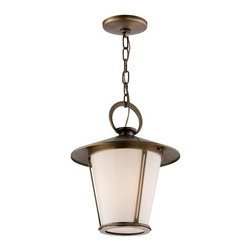 Troy - Antique Brass Rennie One-Light Hanging Lantern Pendant - - Rennie 1 Light Hanger Post Mount Lantern. Antique Brass Finish with Opal White Glass. Made From Solid Brass. Troy - F3257