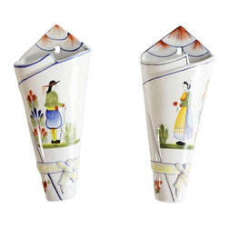 Pre-owned Pair of French Quimper Hand Painted Wall Vases - This darling and classic pair of French Quimper hand painted ceramic wall vases are the perfect vessels for wild flowers! Maybe even some fresh herbs de Provence? Oui oui Monsieur!