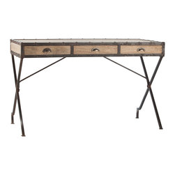 Trent Wood/Iron Campaign Desk - Natural weathered wood bound in studded iron creates inherent patina in the Trent Campaign Desk, a transitional reinterpretation of a classic French-inspired style.  Drawing on the worldly look of home accessories with a well-traveled impression, this writing desk is light and unassuming in its architecture but fascinating in the choice of old-world distressed finishes.