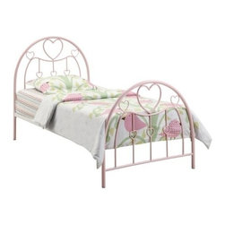 "Coaster - Twin Bed (Sandy Yellow/Pink) By Coaster - Nothing screams girly like a Twin Metal Bed that incorporates the color pink and hearts! Your daughter will thrive in the confides of this bed, while surrounded by stunning arched metal headboard and footboards that include a lovely pink finish and motifs of hearts. Simply a perfect choice for timeless, dainty design sure to appeal to the feminine eye. Features: Pink finish on metal tubing Strong 2"" metal tubing used on bed Twin size Boxsping not required Specifications: Overall product dimensions: 41.25""W x 47""H x 77""D"