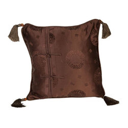 Used Silk Brown Medallion 16x16 Pillow - Layering on the perfect throw pillow is the cherry on top for achieving an effortlessly styled effect in your room. This adorable 16x16 brown silk pillow features subtle medallion designs, corner tassels, piping, a hidden zipper on back, and Cheongsam buttons.    We have 3 pillows available. If you would like more than one, please contact support@chairish.com.
