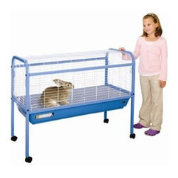 "Prevue Hendryx - Jumbo Small Animal Cage on Stand with Casters - 47x22x37 - This jumbo small animal cage includes a tubular steel frame stand, 6.5"" deep plastic pan, removable grille and 2 large opening doors on front and top of cage. The easy rolling casters on stand make this easy to move in and out of home. The removable pan and grille make this a very easy cage to clean and gives lots of room for small animals and rabbits. Available in Purple with white mesh. -6.5 inches deep plastic pan. -Removable bottom grille. -2 large doors. -Tubular steel stand with easy-rolling casters. -Measures: 47"" L x 22"" W x 37"" H. -1"" spacing. -90 day warranty."