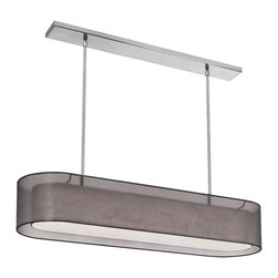 Dainolite - Dainolite MEL448-SC-815 4 Light Oval Pendant Shade Within A Shade Sc Finish - Dainolite MEL448-SC-815 4 Light Oval Pendant Shade Within A Shade SC Finish Outside Shade Black Laminated Organza Inside Shade White Fabric