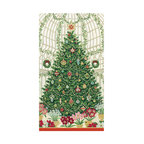 """Frontgate - Caspari Christmas at the Garden Guest Towels - Christmas tree with trimmings design. Ideal as guest towels or buffet napkins. Look of cloth yet disposable for easy clean-up. Each set contains 30 towels. Environmentally friendly biodegradable materials. Our Christmas at the Garden guest towels by RHS boast a towering Christmas tree design decked out in all the trimmings. The bright colors and intricate detailing of our disposable towels complement holiday adornment.  crafted of biodegradable, triple-ply tissue that is both ultra-absorbent and environmentally friendly. They have the look of cloth, yet can be tossed in the trash for quick and easy clean-up. Ideal for the buffet table or guest bath.  .  .  .  .  . Crafted of soft and absorbent triple-ply tissue . FSC certified pulp and water based dye materials . Measures 13"""" x 16"""" open . Imported."""