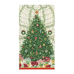 "Frontgate - Caspari Christmas at the Garden Guest Towels - Christmas tree with trimmings design. Ideal as guest towels or buffet napkins. Look of cloth yet disposable for easy clean-up. Each set contains 30 towels. Environmentally friendly biodegradable materials. Our Christmas at the Garden guest towels by RHS boast a towering Christmas tree design decked out in all the trimmings. The bright colors and intricate detailing of our disposable towels complement holiday adornment.  crafted of biodegradable, triple-ply tissue that is both ultra-absorbent and environmentally friendly. They have the look of cloth, yet can be tossed in the trash for quick and easy clean-up. Ideal for the buffet table or guest bath.  .  .  .  .  . Crafted of soft and absorbent triple-ply tissue . FSC certified pulp and water based dye materials . Measures 13"" x 16"" open . Imported."