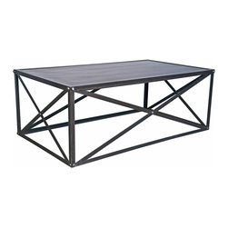 Kathy Kuo Home - Crispin Industrial Style Metal Stone Coffee Table - * 18 inches high x 48.5 inches wide x 29 inches deep