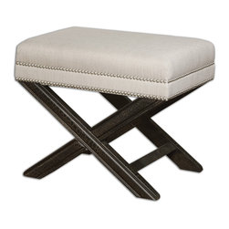 Uttermost - Viera Sandy White Small Bench - Shimmery, sandy white woven tailoring features teflon fabric protector, silver nail accents and black crackled wood frame in solid white mahogany. Matching chair is item #23081. Bulbs Included: No