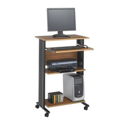 Safco - Muv Stand-up Fixed Height Workstation in Medium Oak - Design elements including a castered base for mobility and molded side panels for hidden cord management make this versatile workstation an excellent choice to enhance any office. Constructed of steel with pressed wood shelves, the unit has a slide out keyboard tray and is finished in medium oak. Two locking dual wheel carpet casters. Four Casters. Decoratively molded side panels hides cables for a clean appearance. The keyboard shelf extends 9-3/4 in. and retracts under the work surface when not in use. Frame made from steel. Shelves made from compressed wood. Powder coat frame and melamine laminate finish. Weight Capacity: 100 lbs. (Desk Top), 25 lbs. (Keyboard Tray). Keyboard Shelf Dimensions: 24.75 in. W x 13.5 in. D. Worksurface Height: 45 in.. Worksurface Dimensions: 29.5 in. W x 19.75 in. D x 0.75 in. H. Overall: 29.5 in. W x 22 in. D x 45 in. H (61 lbs.). Assembly InstructionWhat's your Muv? No matter the setting the Muv workstation is the right choice. This mobile workstation is great in the computer lab, library, media center, server room, classroom, faculty lounge, print shop or conference room. It's your Muv.
