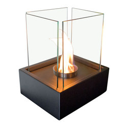 "Bluworld Nu-Flame - Lampada Personal Tabletop Ethanol Fireplace - ""Lampada"", Italian for lamp light, is one of our newest tabletop fireplaces. Lampada is the perfect centerpiece or gathering point for friends and family. A beautiful way to add luxury and warmth making it the perfect gift to give or receive!The colorful flames stand out against the classic black body and safely behind the tempered glass windscreen... beautiful and functional. This open ultra modern design allows the beauty and colors of the flames to be enjoyed by everyone. Relax and unwind as you watch the fascinating flames. Ships with snuffer tool. Perfect for any setting. Lampada tabletop bio-fireplace may be used indoors or out, however do not leave your fireplace outside exposed to the elements after use."