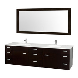 Wyndham Collection - Stone Top Bathroom Vanity Set - Includes one bathroom vanity, two white porcelain undermount square sink, drain assemblies, P traps, 4 in. backsplash and large single accara mirror. Faucet not included. Two functional doors. Nine functional drawers. Plenty of counter space. 8 stage preparation, veneering and coloring process. Water resistant sealed color. Cutting edge and unique styling. Modern wall mount design. Fully extending under mount soft close drawer slides. Concealed soft close door hinges. Single hole faucet mount. Metal exterior hardware. Made from wood, marble and MDF. White, espresso and brushed chrome color. Minimal assembly required. Care Instruction. Vanity: 78 in. W x 22 in. D x 23.5 in. H. Mirror: 70 in. W x 33 in. H