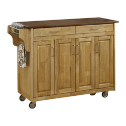 Home Styles - Home Styles Create-a-Cart in Natural Finish with Oak Top - Home Styles - Kitchen Carts - 92001016G - Home Styles Create-a-cart in a natural finish with a 3/4 inch oak finished wood top features solid wood construction, four cabinet doors that open to storage with three adjustable shelves inside, handy spice rack with towel bar, paper towel holder, and heavy duty locking rubber casters for easy mobility and safety. Size: 48.75w 17.75d 34.75h. Assembly required.