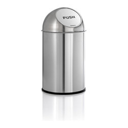 Blomus - Intro Push Man - Push need not come to shove. This Push Man puts a lid on everything you toss inside, containing the chaos handily, all while keeping up appearances admirably.