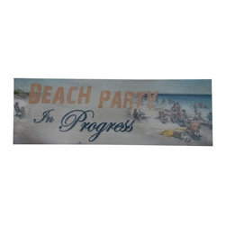 Handcrafted Nautical Decor - Wooden Rustic Beach Party in Progress Beach Sign 24'' - Our   Wooden Rustic Beach Party In Progress Sign 24'' is the perfect choice to display   your affinity for decorating a beach house. Whether placing this sign in a beach house, using it as a coastal decorating idea, or hanging it up as part of   your beach bedroom decor, one thing is for   certain: you are sure to inject the beach lifestyle into your humble   abode.------    Easily mountable to hang outside or inside--    Solid wood--    Handcrafted and highly detailed--
