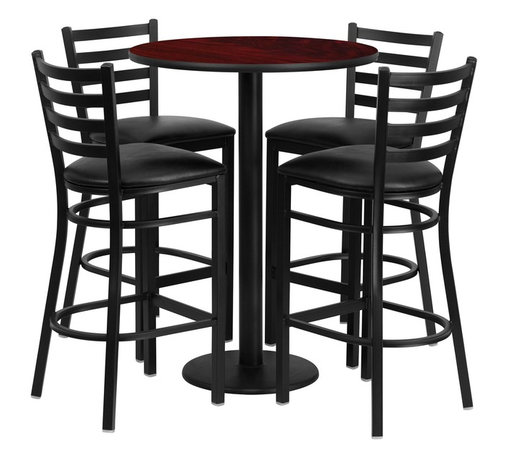 Flash Furniture - Flash Furniture Restaurant Furniture Table and Chairs X-GG-2201BRSR - 30'' Round Mahogany Laminate Table Set with 4 Ladder Back Metal Bar Stools - Black Vinyl Seat [RSRB1022-GG]