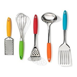Five Piece Gadget Set - Your favorite cook will want to hang these festive kitchen gadgets out in the open. Who knows, they are so fun, they may inspire him or her to find an excuse to whisk something!
