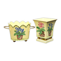 Colorful Primulas Cachepots - This vibrantly handpainted cachepot enhances the décor in any room by being both stylish and functional. Featuring a handpainted floral pattern on a soft yellow background, this pot adds stylish glamour to a bathroom, bedroom or den.