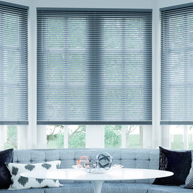 """1"""" Premium Aluminum Blinds - Made of 6-gauge aluminum, Select Blinds Aluminum mini blinds are scratch resistant and offer a streamlined construction."""
