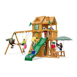 Gorilla Playsets - Cafe Climber Swing Set - Simply refreshing! Quench your thirst for excitement with our Cafe Climber by Gorilla Playsets! This set is packed with extras - from our double level clubhouses to our built-in picnic table with a counter and umbrella, it's full-on fun! Your kids will be setting up shop in their own backyard!