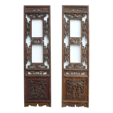 Golden Lotus - Consigned Vintage Pair Chinese Double Window Wood Panels - This is an old Chinese wood panel with two open windows at the center. Relief carving of oriental people and flowers is at the top and bottom. It is rustic with worn off marks and wood crack. Loose part will be fixed.