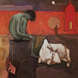 """Night Flights"" (Original) By Arun Prem - The Man And Cow Both Free Or Homeless, As Indicated By Their Locations. Both Appear To Have Succumbed To The Dark And To Fatigue.  They Are Oblivious Of The Sinister Aspects Of The Night."
