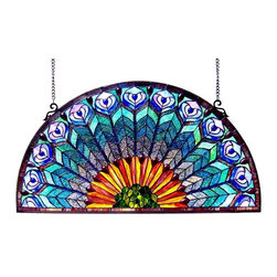 Glass Window Panel - Glass Window Panel. A beautiful peacock feather design window pane in pleasing pastels to bring color and interest to any room. Expertly handcrafted with top quality materials including real stained glass and gem-like cabochons. The metal frame is finished in an antique bronze patina, features designer anchors and a chain for easy hanging.