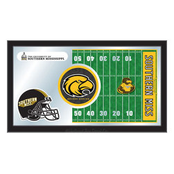 "Holland Bar Stool - Holland Bar Stool Southern Miss Football Mirror - Southern Miss Football Mirror belongs to College Collection by Holland Bar Stool The perfect way to show your school pride, our Football Mirror displays your school's symbols with a style that fits any setting.  With it's simple but elegant design, colors burst through the 1/8"" thick glass and are highlighted by the mirrored accents.  Framed with a black, 1 1/4 wrapped wood frame with saw tooth hangers, this 15""(H) x 26""(W) mirror is ideal for your office, garage, or any room of the house.  Whether purchasing as a gift for a recent grad, sports superfan, or for yourself, you can take satisfaction knowing you're buying a mirror that is proudly Made in the USA by Holland Bar Stool Company, Holland, MI.   Mirror (1)"