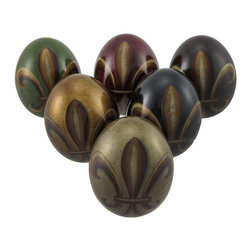 Zeckos - Set of 6 Fleur De Lis Decorative Ceramic Eggs 4.25 x 3.25 In. - This set of 6 decorative ceramic eggs adds a wonderful accent to your home. The combination of colors and fleur de lis designs are sure to complement most any decor theme. They look great on decorative plates and trays, in glass apothecary jars and bowls, or on shelves and desks. Each egg measures 4.25 inches by 3.25 inches. The set makes a great housewarming gift, and is sure to be admired.