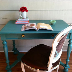 Turquoise Table/Desk by Lynor - I wanted a turquoise desk in my new office, so I bought a used desk and painted it. But this one is a good option as well.