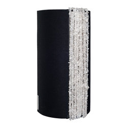 """Ro Sham Beaux - Ro Sham Beaux Rachel Black Linen Wall Sconce - Rich textures radiate sophisticated style on Ro Sham Beaux's Rachel wall sconce. Accenting bold black linen, clear quartz beads exude a glamorous glow. 7""""W x 6""""D x 14""""H; Recycled coke bottle beads; Accepts 75W max bulb (not included); Hardwired; Handcrafted in the USA"""