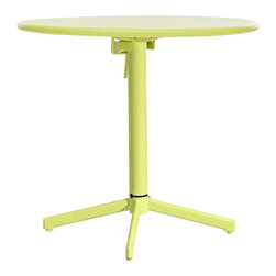 """Zuo - Big Wave Lime Round Outdoor Folding Table - The festive lime green hue of this round outdoor folding table makes any get-together a party. It has a weatherproof finish and folds up easily for storage to make more room when the dancing starts. Steel construction. Lime green with weatherproof epoxy finish. Folds away for easy storage. 29 1/2"""" high. 30"""" diameter.  Steel construction.   Lime green with weatherproof epoxy finish.   Folds away for easy storage.   Some assembly required.  29 1/2"""" high.   30"""" diameter."""
