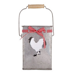 "Home Essentials - Galvanized Metal Rooster Hurricane Holders Set of 2 - Throwing a party with a rustic theme or farmhouse flair? Our galvanized rooster holders will be will the perfect companion! Whether you are entertaining guests or just decorating your kitchen, these adorable accent are a must have for country kitchens. Its rustic galvanized finish and fun shape will delight anyone who enters your home. * Set of 2 * Dimensions: D: 5"" H: 7"" * Complete with ribbon"