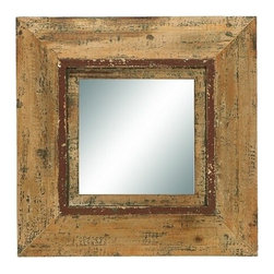 Benzara - Looking Glass Style Mirror with Old Look Square Frame - Looking glass style mirror with old look square frame. This antique mirror is just what you are looking for to complete your foyer or hallway decoration.