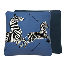 "Chloe and Olive - Scalamandre Blue Zebra Print Throw Pillow, 20x20"", 20x20"" Right Facing - This iconic, prancing print by Scalamandre will bring vivacity and glamour to a couch, bed or chair. With a stunning pair of zebras on each throw pillow, the exquisite combination of denim blue, black and white will be a favorite for many seasons to enjoy. Scalamandre is a well known manufacturer of the finest quality fabrics for over 80 years."