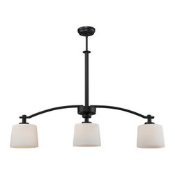 Z-Lite - Z-Lite 220-3B Arlington 3 Light Down Light Island Light - Z-Lite 220-3B Arlington 3 Light Down Light Island LightA fixture from Z-Lite's Arlington Collection, featuring a iron frame, glass shade and modern lines highlight this three light island light from the Arlington Collection. With a height of 73 inches and a luxurious oil rubbed bronze finish, this island light adds a contemporary feel to any room.Z-Lite 220-3B Features: