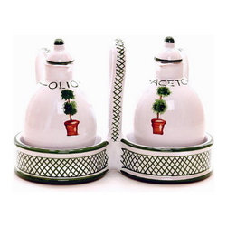 Artistica - Hand Made in Italy - GIARDINO: Oil and Vinegar cruet set with caddy. - GIARDINO Collection: The Giardino (Garden) collection, is an exclusive product from Deruta of Italy.