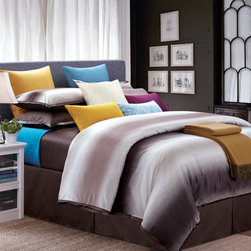 None - Mocha Galaxy California King-size 8-piece Cotton Comforter Set - This California king-size comforter set is filled with subtle and bold shades of brown,including coffee-colored tones and light brown hues. The modern style promotes a relaxed mood for any bedroom. The cotton twill provides a smooth and soft texture.