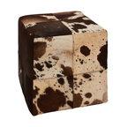 Wonderful Wood Leather Square Ottoman - Description: