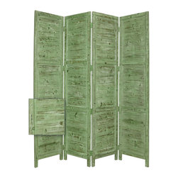 Nantucket Screen,  Green - Nantucket 4 Panel Floor Screen has a frame and panels of solid cedar wood that is stained in a washed soft green. This handmade Floor Screen is finished on both sides
