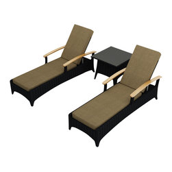 Harmonia Living - Arbor 3 Piece Modern Outdoor Reclining Chaise Lounge Set, Heather Beige Cushions - Table for two. Create the perfect escape on your deck or patio with this three-piece set. It includes two reclining chaises and an end table to hold your morning coffee or 5- o'clock cocktail. Each piece is made of high-density polyethylene that weathers the elements beautifully.