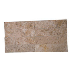 Brushed Stone Travertine 2x8 Marble Tile - Create a dynamic focal point with these brushed travertine tiles. Natural color variations ensure a distinctive look whether they're placed in the bathroom shower or used for a kitchen backsplash.