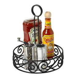 Spectrum Diversified Designs - Scroll Condiment Stand - Keep all of your condiments organized in style with the Scroll Condiment Stand. This elegant caddy features a handle for easy carrying and easily accommodates your favorite seasoning and topping bottles. Made of sturdy steel, this caddy will add a sophisticated touch to any table.