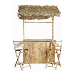 Bamboo54 - Bamboo Bar With Thatched Roof And 2 Bar Stools - This authentic handmade backyard Bamboo Bar With Thatched Roof And 2 Bar Stools is sure to give your home a tropical and serene ambiance. Environmentalists will rejoice when you use bamboo because it naturally replenishes. Made from premium quality bamboo, this set is sure to last a lifetime. Bring Hawaii, Mexico, and the Bahamas right into your own backyard. Imagine stepping out of your back door into a tropical vacation breeze. Celebrate outdoor living when you add this gorgeous set to your patio.