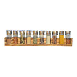 Adams Elemental Design - Minimalist Spice Rack (Hardwood), Zebrawood, 10 Jars - These minimalist spice racks are a perfect way to showcase the wonderful colors of spices as well as the unique grain and color variations of natural wood.  Each spice rack is hand crafted from individually selected pieces of hardwood and finished with all natural Tung oil to accentuate the unsurpassed beauty of natural elements.    This results in beautiful pieces of functional art where no two racks are the same thereby bringing unique character to any kitchen.