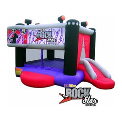 """Kidwise - Rock Star Bounce House - It's Time to Rock the Bounce House! The Rock Star Bouncer has a Rock'n Roll theme that will get any kid bouncing to the beat. The bounce house is constructed with an 8'x8' inside bounce area an external slide backstage. Whether it's a Rock beat, or Hip Hop, the Rock Star bouncer gives kids a great play value no matter what music makes them bounce. Features: -KidWise Rock Star Bouncer. -Includes oversized storage bag, stakes, patch kit, 110V blower with GFCI breaker and instructions. -420 D oxford nylon and PVC tarpaulin construction. -Reinforced Double and Triple Stitching. -Entry inflated platform for safety. -Heavy Duty Bounce Floor is 96"""" x 96"""". -Ages 3 to 10. -Adult supervision required. -30 days for guarantee for material, 1 year for blower. -Only warrants against manufacturer's defects, not against misuse. -Overall dimensions: 13.4' L x 11' W x 8' H."""