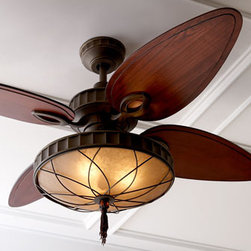 """Venetian Bronze"" Ceiling Fan - Invite the neighbors over for dinner this summer and have a great time cooling beneath the Venetian Bronze Ceiling Fan.  This fan is made with custom wood blades, an amber glass bowl and a decorative filigree light.    * 56"" blade sweep."