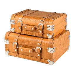 "Traders and Company - Faux Crocodile Skin Short Trunk Cases, Set of 2 - Lg = 16.25""Lx13.5""Wx7.25""H - European-inspired faux crocodile skin trunks, trays, boxes and carry-alls. Reminiscient of early 20th century railway fashion; bright and classic looking pieces warm and enliven a space while providing functional storage and stylish display. Alternate shapes & styles sold separately. Dimensions: Lg = 16.25""Lx13.5""Wx7.25""H, Sm = 14""Lx11.75""Wx5.25""H"
