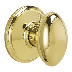 Schlage - Siena Bright Brass Hall and Closet Knob - F10 - Manufacturer SKU: F10 SIE 605. Handle Type: Knob. Use on a 1-3/8 in. to 1-3/4 in. thick door. Universal latch and Triple Option faceplate fit standard door preparations. Passage knob for use on a door where a locking function is not required, such as a hallway or closet door. All-metal chassis for durability. Bright brass finish. Includes hardware for quick, 1-tool installation. ANSI Grade 2. Finish: Bright Brass. 2.4 in. L x 2.6 in. W x 2.8 in. H (1.1 lbs)