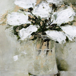 "White Flowers In A Vase Abstract - Original painting on paper 14 X 11 inches (paper size 15""x11"")."